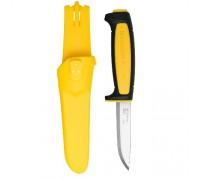 Нож Morakniv Basic 511, углеродистая сталь, пластиковая ручка (черная), желтая вставка