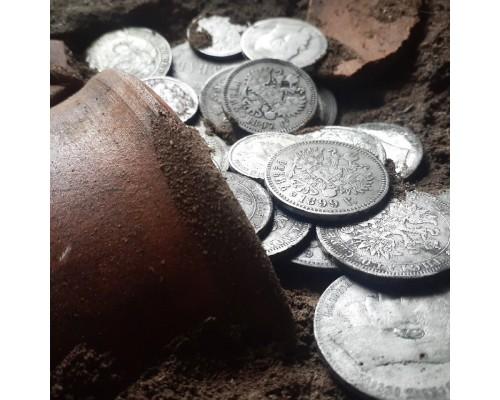 Объёмная картина ручной работы (панно) в виде клада монет