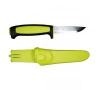 Нож Morakniv 511, углеродистая сталь, пластиковая ручка (черная), зеленая вставка